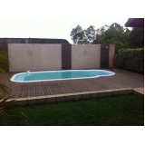deck de madeira para piscina redonda preço CECAP