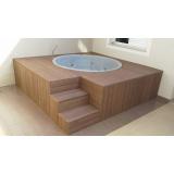 deck de madeira para piscina redonda na Itaquaquecetuba