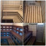 deck de madeira plástica para sauna