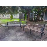 onde encontrar banco de jardim em madeira e ferro fundido Jardim Iguatemi