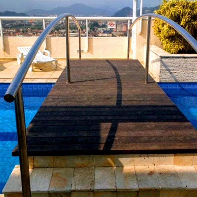 Ponte em madeira Rewood Cor Tabacco linha Rustik com réguas de 12cm