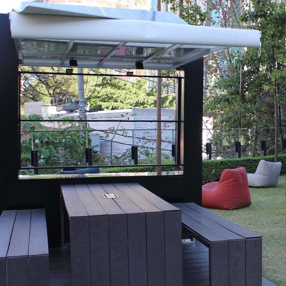 Estação de energia solar em madeira plástica Rewood Cor Tabacco linha Rustik