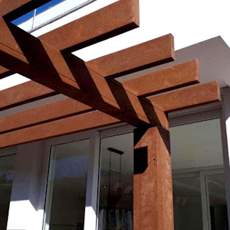 Pergolado em madeira Rewood com metalon Cor Canyon linha Rustik